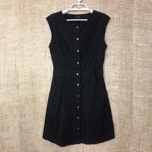 Theory Jalia Black Cap Sleeve Button-Front Dress